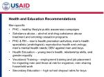 health and education recommendations
