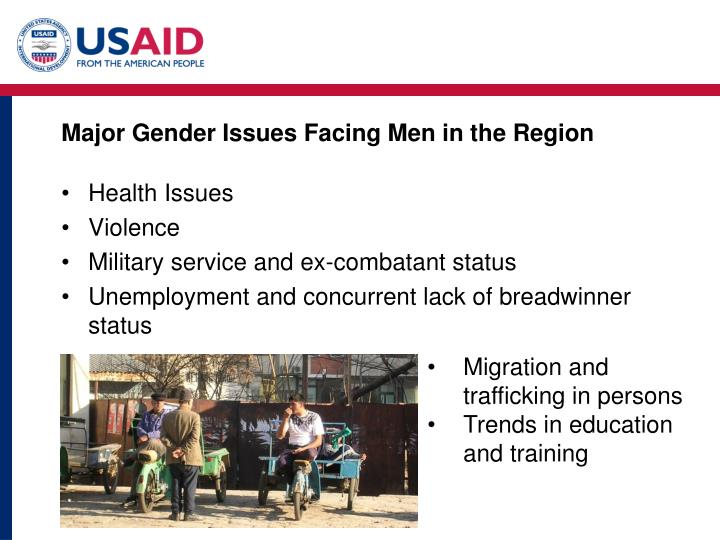 Major Gender Issues Facing Men in the Region