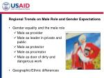 regional trends on male role and gender expectations