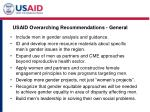 usaid overarching recommendations general