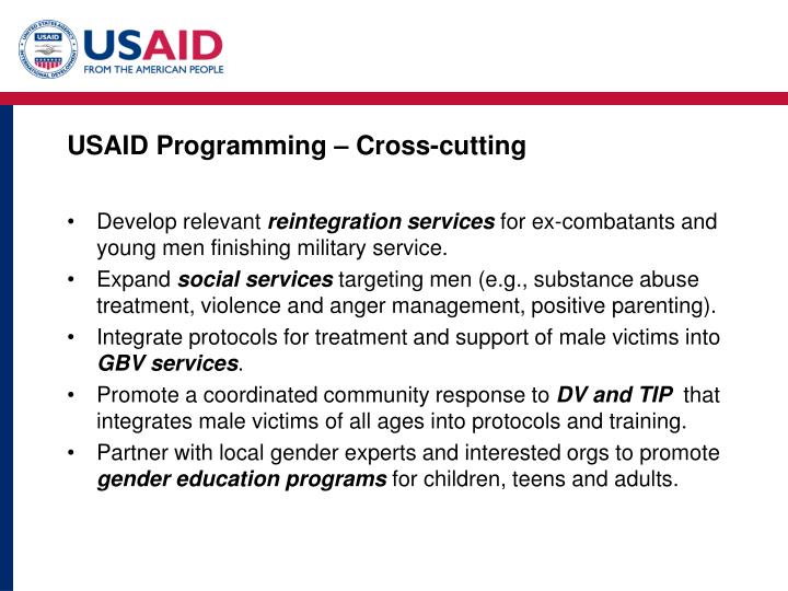 USAID Programming – Cross-cutting