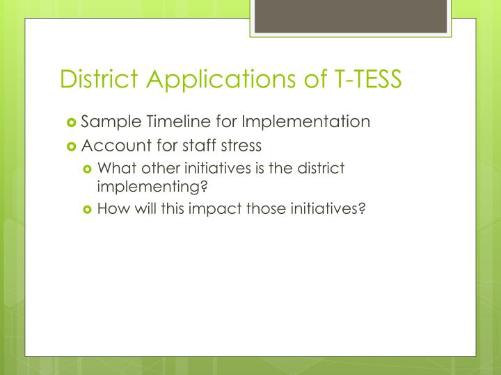 District Applications of T-TESS
