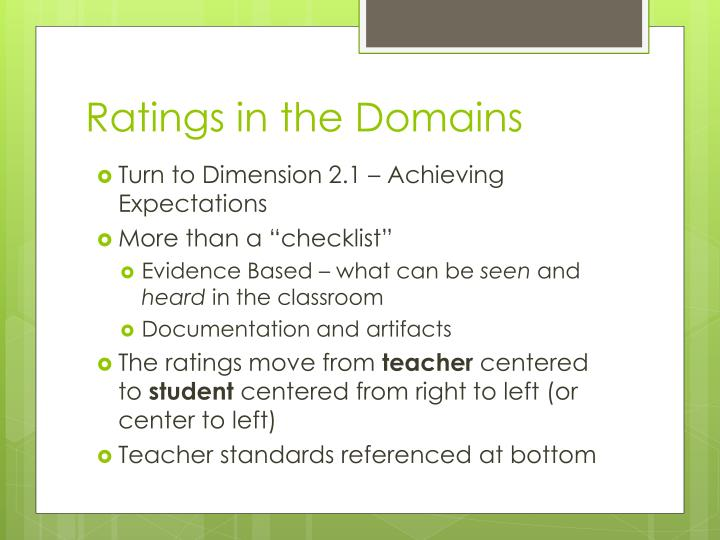 Ratings in the Domains