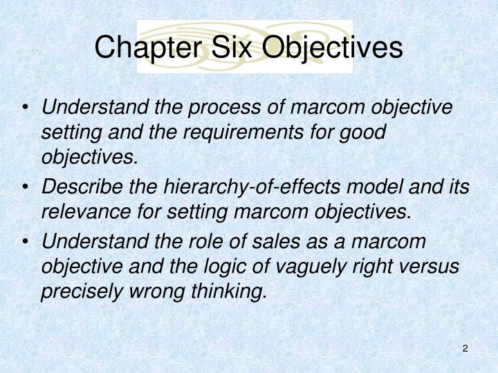 Chapter six objectives