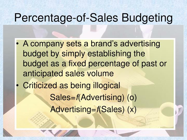 Percentage-of-Sales Budgeting
