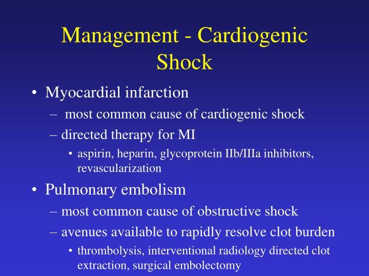 Management - Cardiogenic Shock