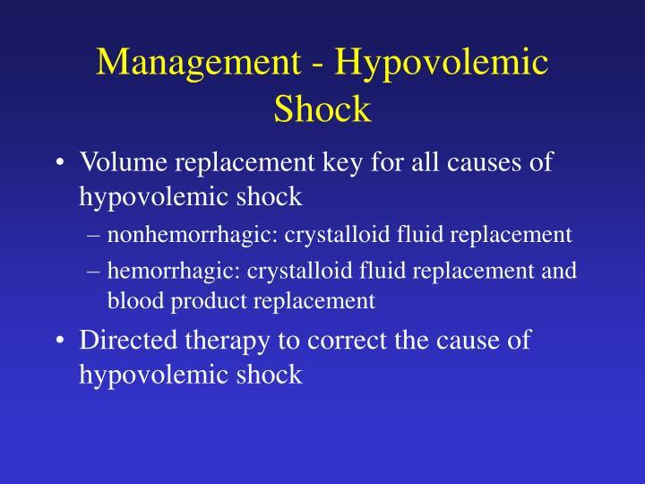 Management - Hypovolemic Shock