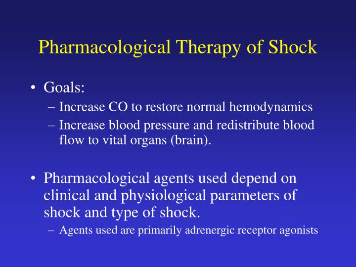 Pharmacological Therapy of Shock
