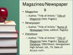 magazines newspapers