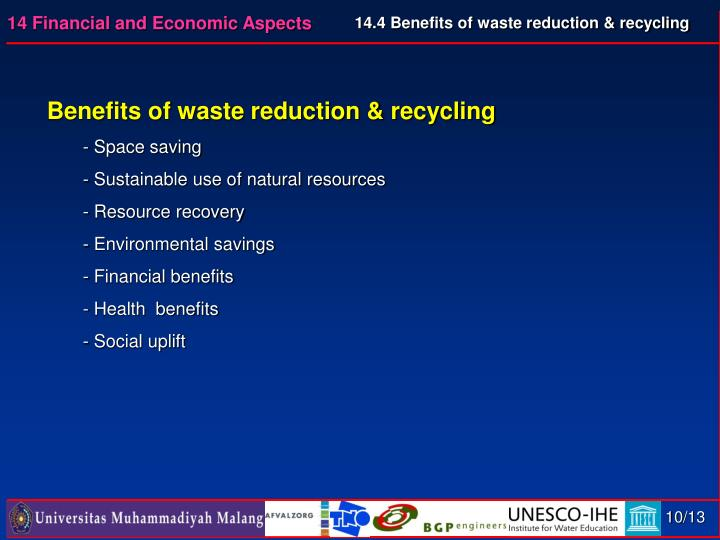 14.4 Benefits of waste reduction & recycling