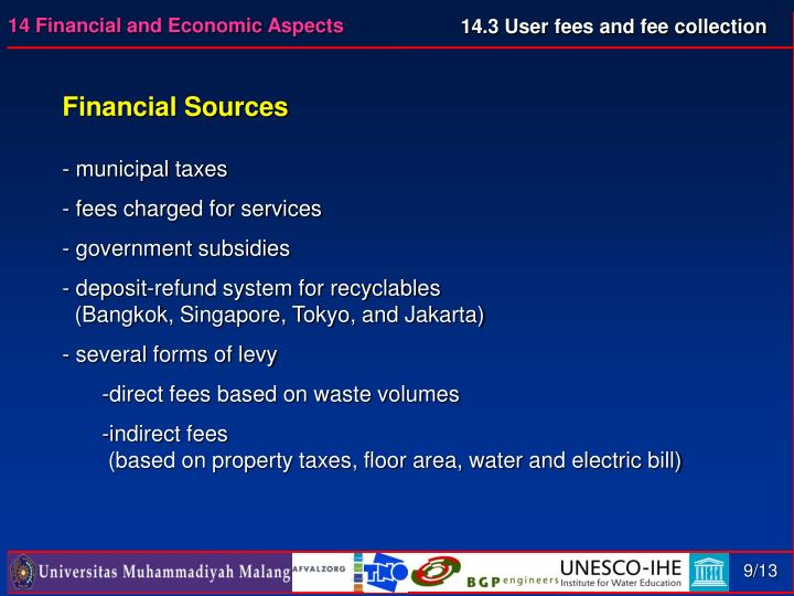 14.3 User fees and fee collection