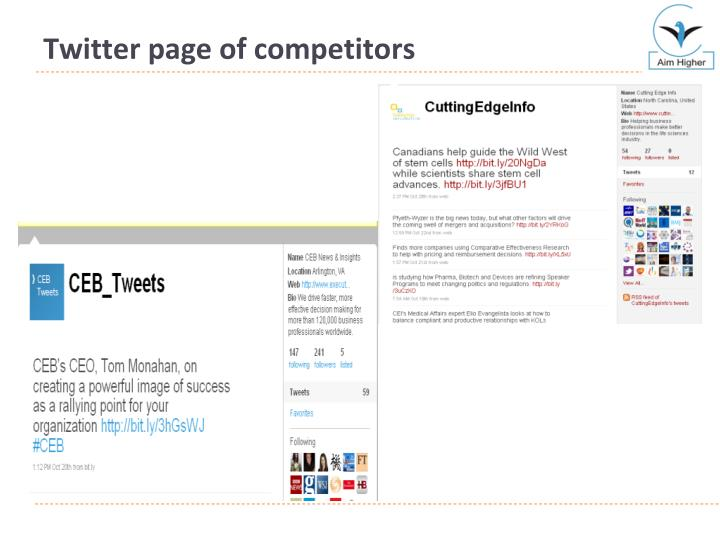 Twitter page of competitors