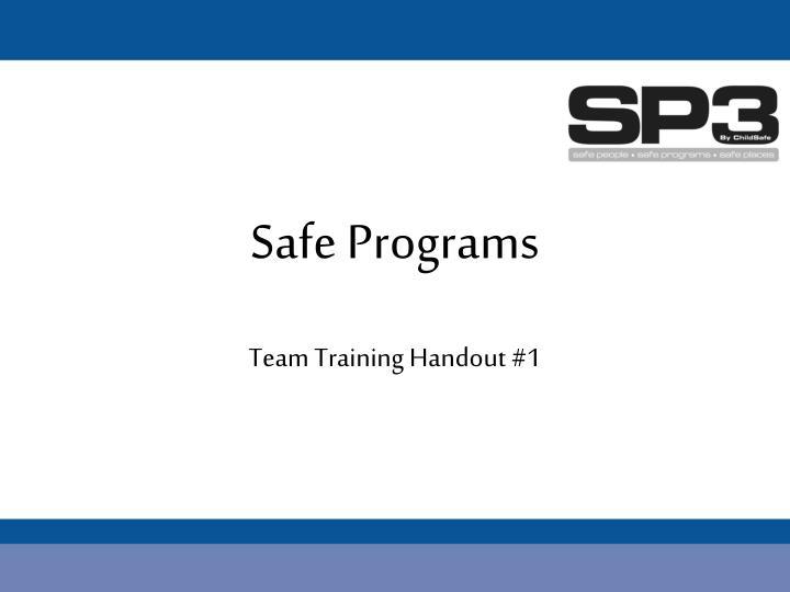 Safe Programs