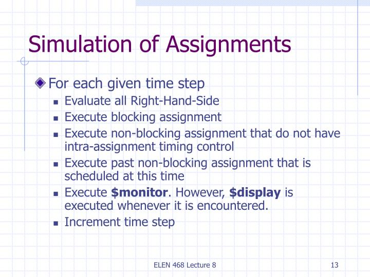 Simulation of Assignments