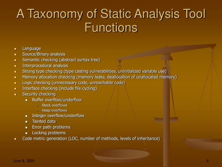 A Taxonomy of Static Analysis Tool Functions