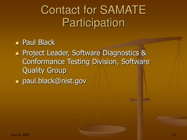 Contact for SAMATE Participation