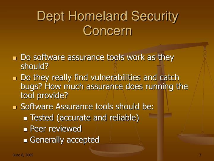 Dept Homeland Security Concern