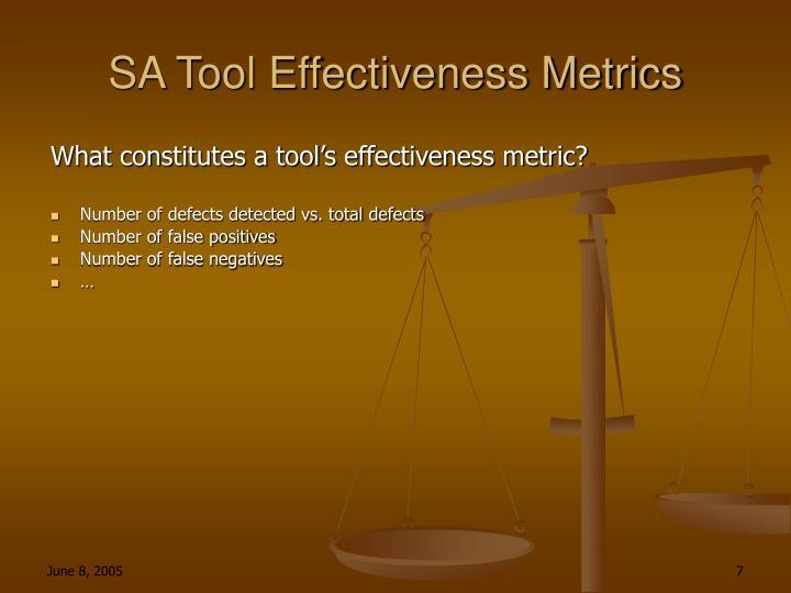 SA Tool Effectiveness Metrics
