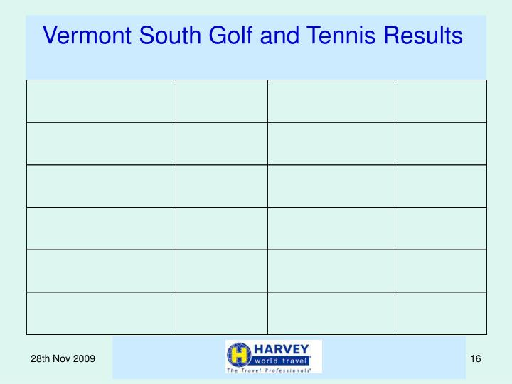 Vermont South Golf and Tennis Results