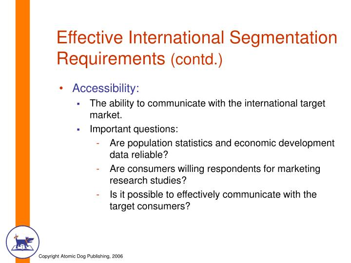 Effective International Segmentation Requirements