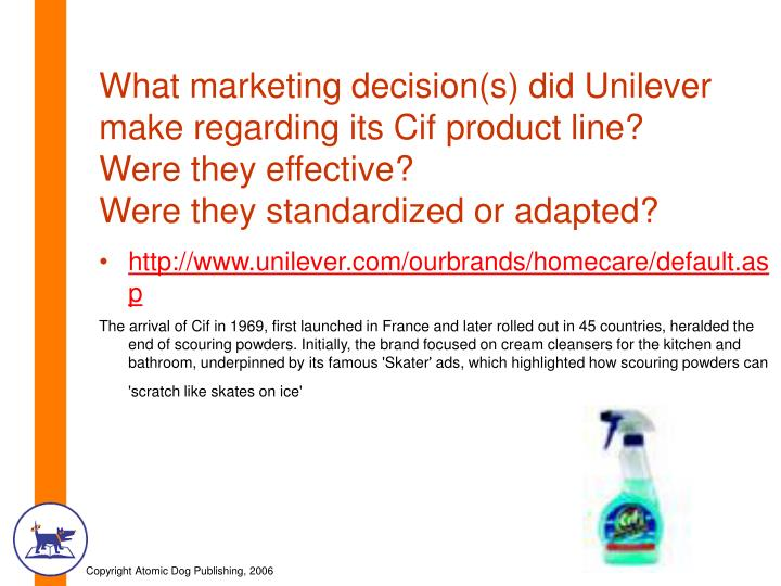 What marketing decision(s) did Unilever make regarding its Cif product line?