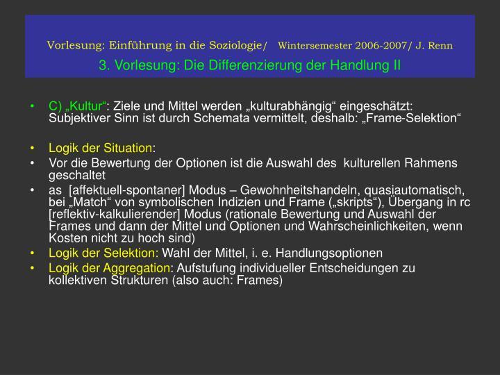 Vorlesung: Einführung in die Soziologie