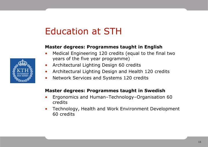 Education at STH