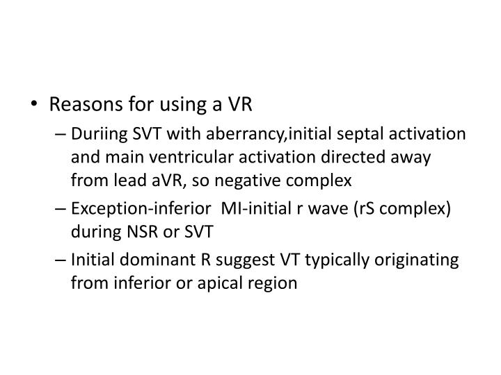 Reasons for using a VR