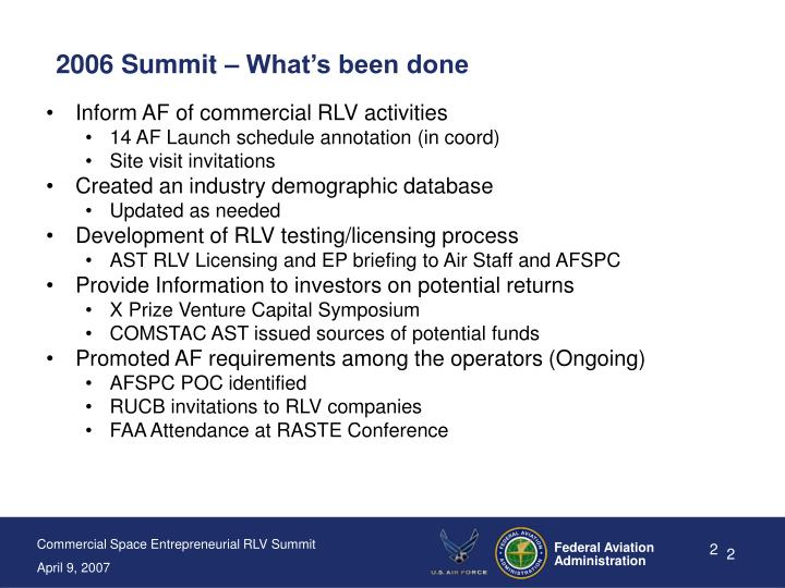 2006 Summit – What's been done