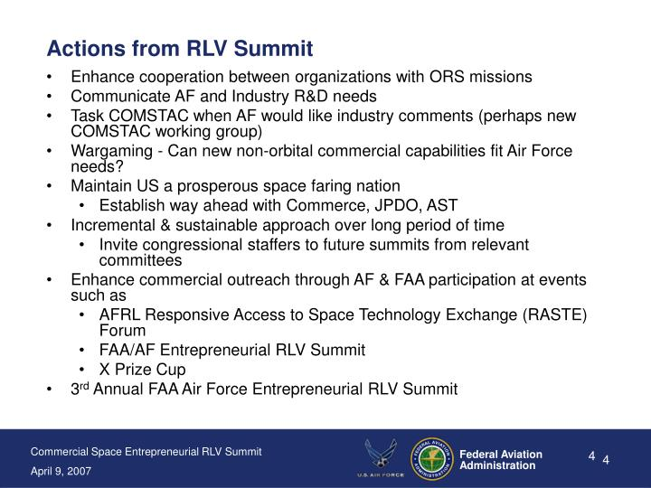 Actions from RLV Summit