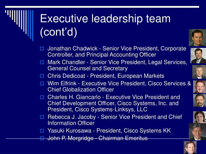 Executive leadership team (cont'd)