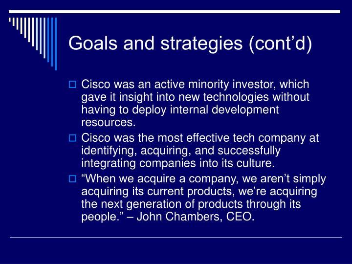 Goals and strategies (cont'd)