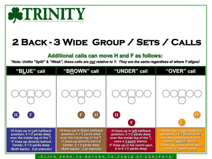 2 Back - 3 Wide  Group / Sets / Calls