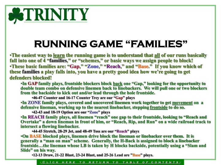 """RUNNING GAME """"FAMILIES"""""""