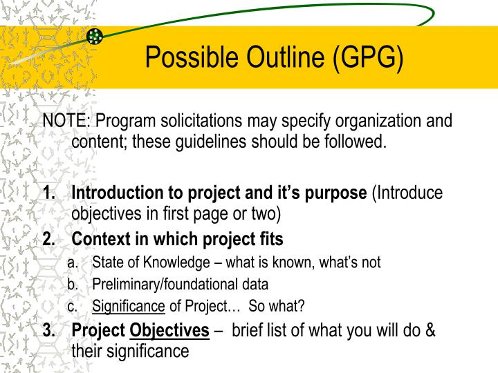 Possible Outline (GPG)