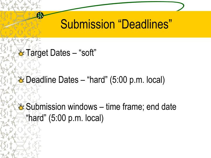 """Submission """"Deadlines"""""""
