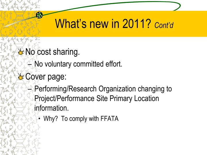 What's new in 2011?