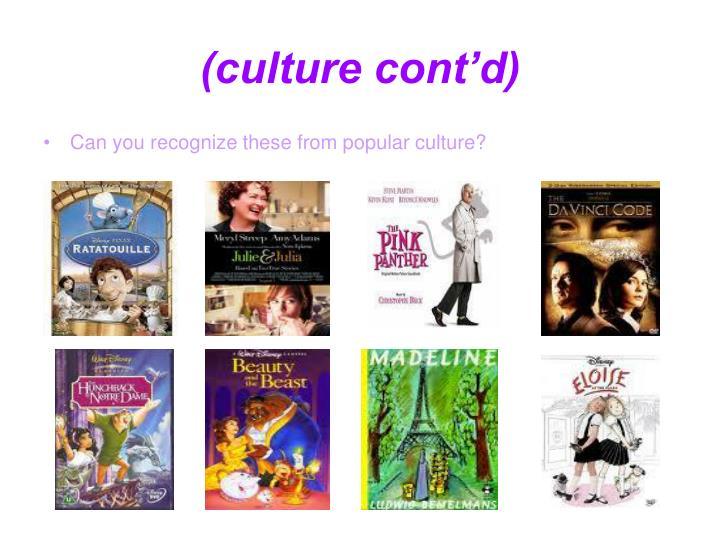 (culture cont'd)
