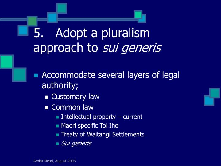 5.	Adopt a pluralism approach to