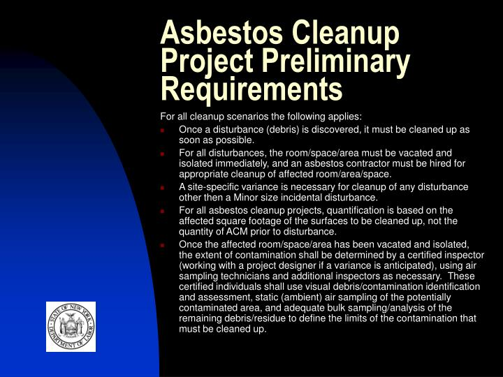 Asbestos Cleanup Project Preliminary Requirements
