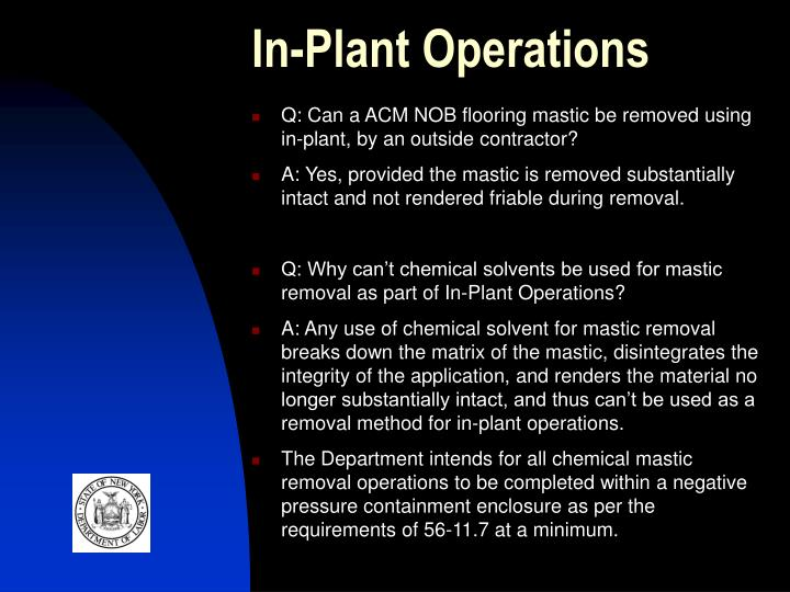 In-Plant Operations