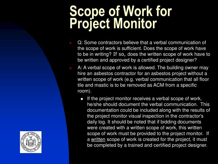 Scope of Work for Project Monitor