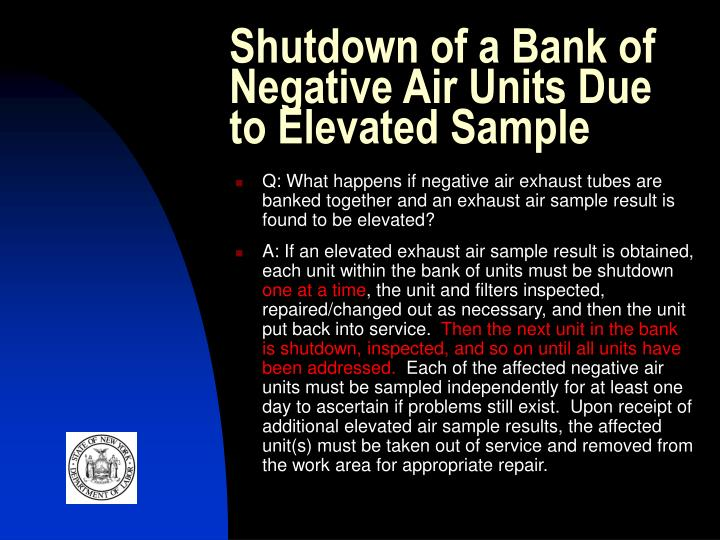 Shutdown of a Bank of Negative Air Units Due to Elevated Sample