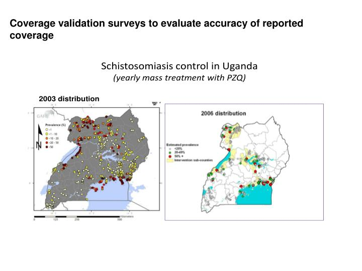 Coverage validation surveys to evaluate accuracy of reported  coverage