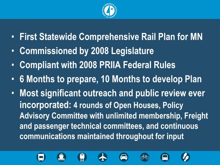 First Statewide Comprehensive Rail Plan for MN