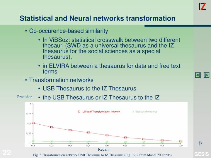 Statistical and Neural networks transformation