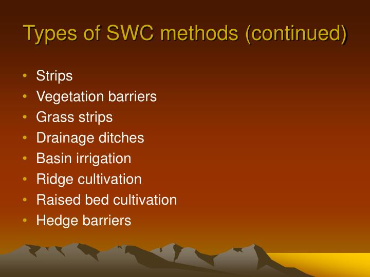 Types of SWC methods (continued)