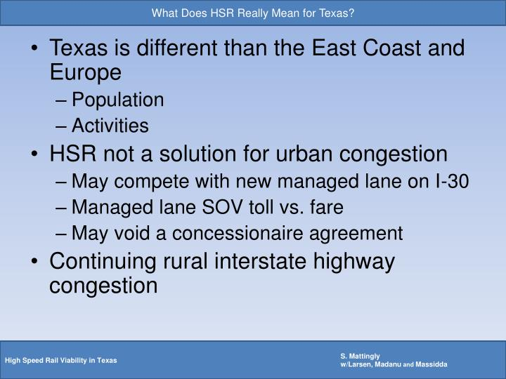 What Does HSR Really Mean for Texas?