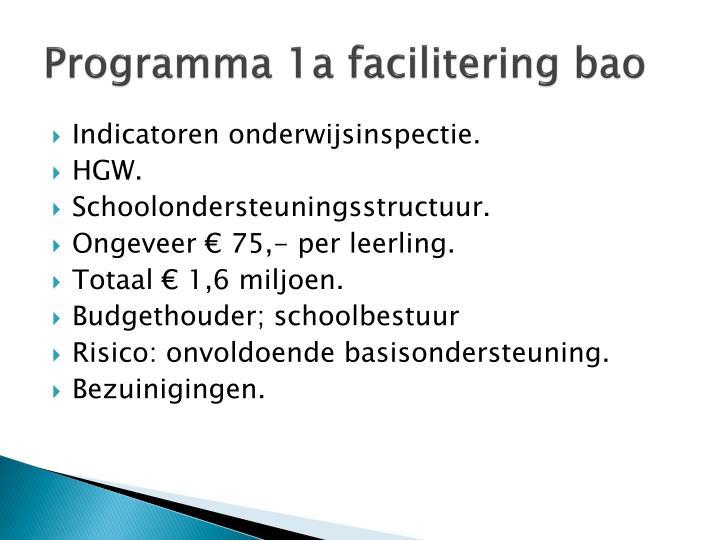 Programma 1a facilitering