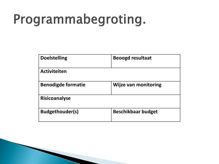 Programmabegroting.